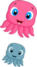 Pink and blue octopus icons